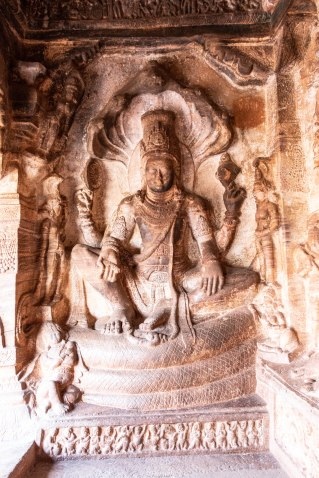 Vishnu sitting on Adishesa in cave 3