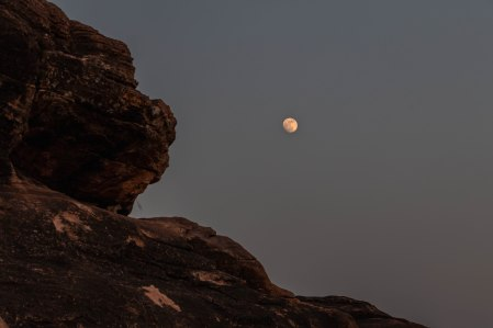 Moonrise over Jain cave temple