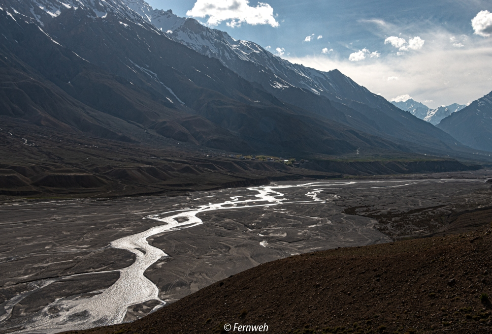 Glistening Spiti river near Kaza